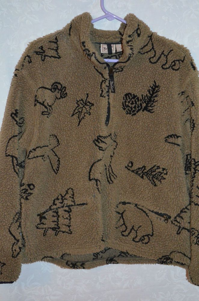 Woolrich Women's 1/2 Zip Beige Fleece Jacket Moose Print M ...