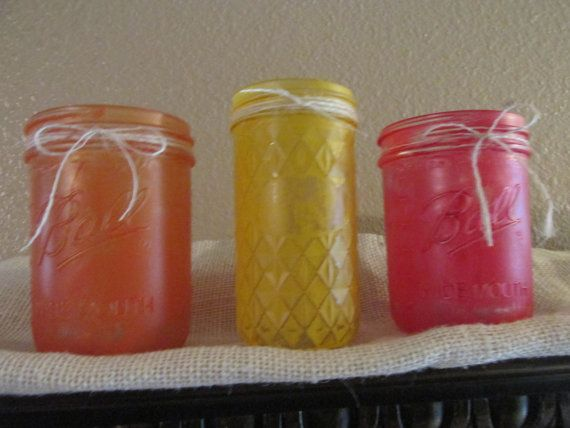 Painted Mason Jars Fall Colors Votive Holders by AndersonUpcycle, $21.00