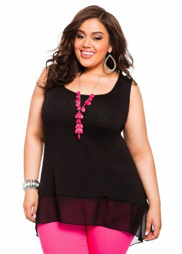 497ab02d02a02 Ashley Stewart Women s Plus Size Chiffon Accent Hi-lo Knit Tank Black 14 16   24.50  Tops  AshleyStewart