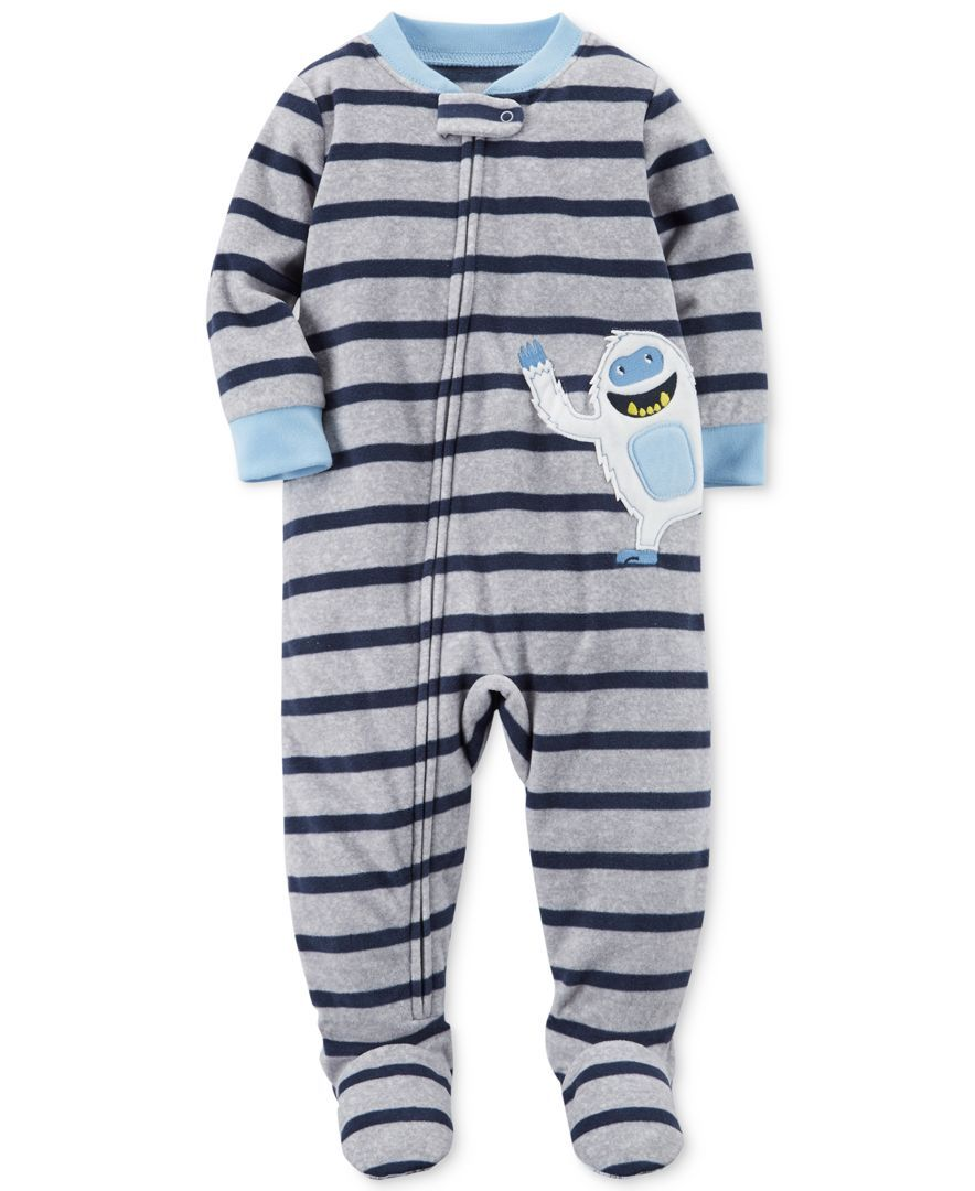 9c28936fe Carter s 1-Pc. Striped Yeti Footed Pajamas