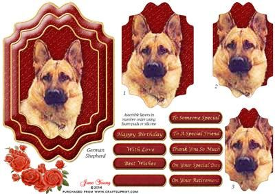 German Shepherd Dog Topper on Craftsuprint designed by June Young - Double layer, shaped, topper of a German Shepherd Dog. There are three shaped pyramid layers and a small floral spray for you to use as an embellishment if you wish. There are also 9 greetings plates, one is blank for your own lettering. This card will be suitable for lots of different occasions and for any animal lover. - Now available for download!