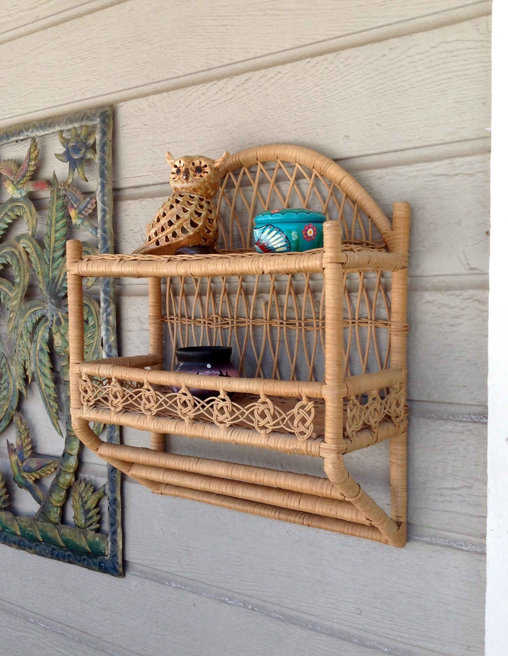 Free Shipping Vintage Natural Rattan Wicker Double Wall Shelf W