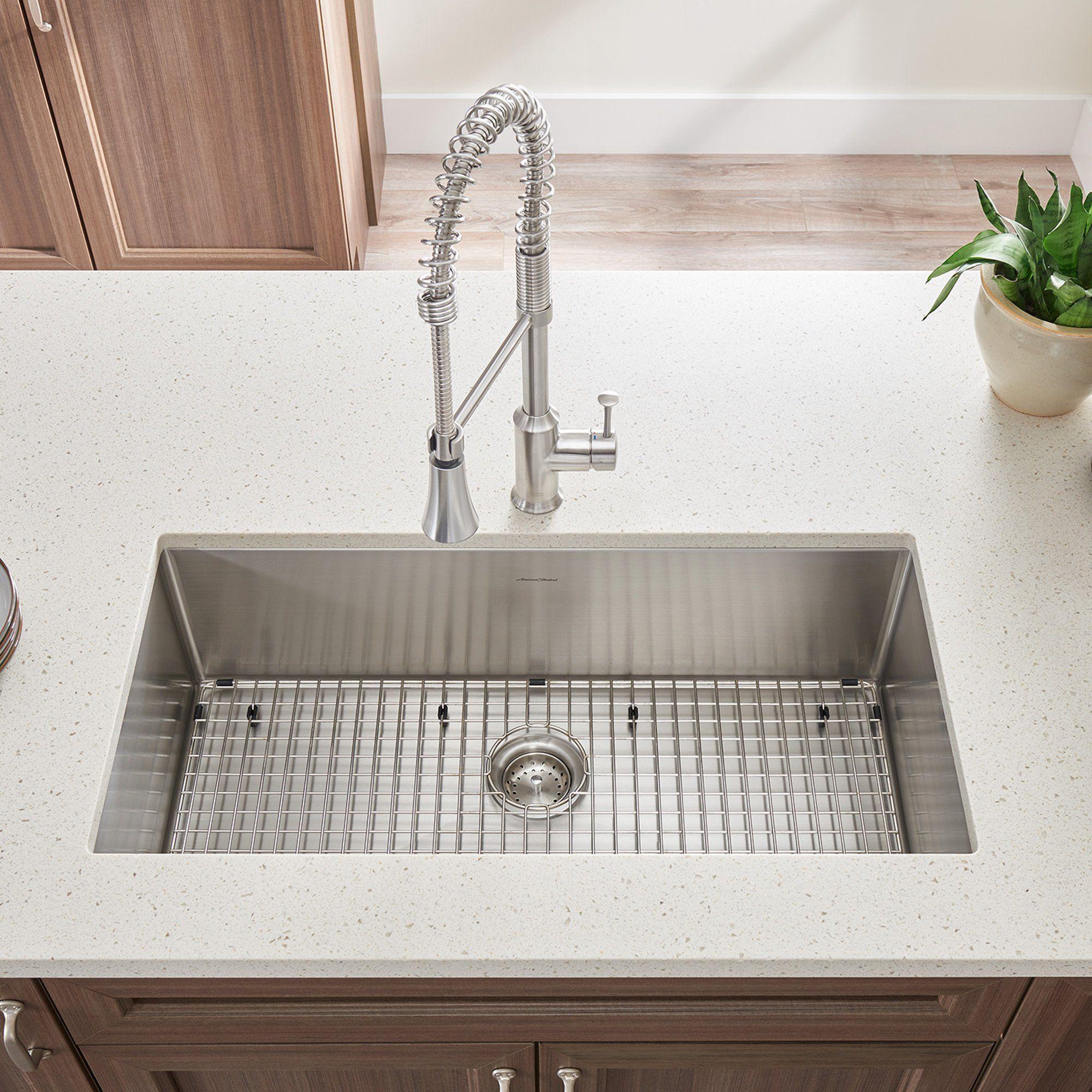 American Standard Pekoe 35x18 Stainless Steel Kitchen Sink With Drain And Bottom Grid 1 Undermount Kitchen Sinks Kitchen Sink Remodel Single Bowl Kitchen Sink