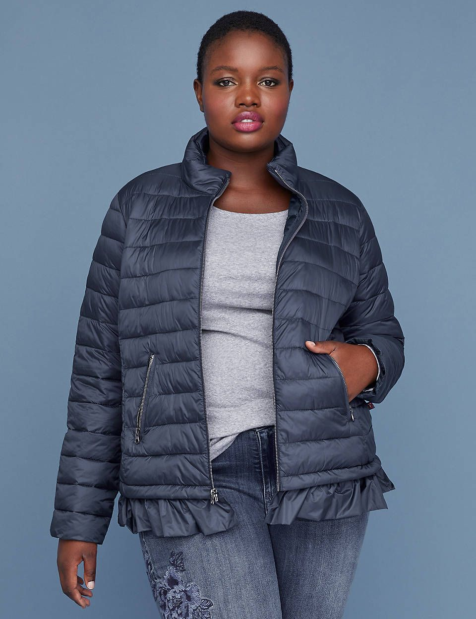 Peplum Packable Puffer Jacket With Thermoplume Technology Night Sky Plus Size Outerwear Sweater Layering Jackets [ 1248 x 960 Pixel ]
