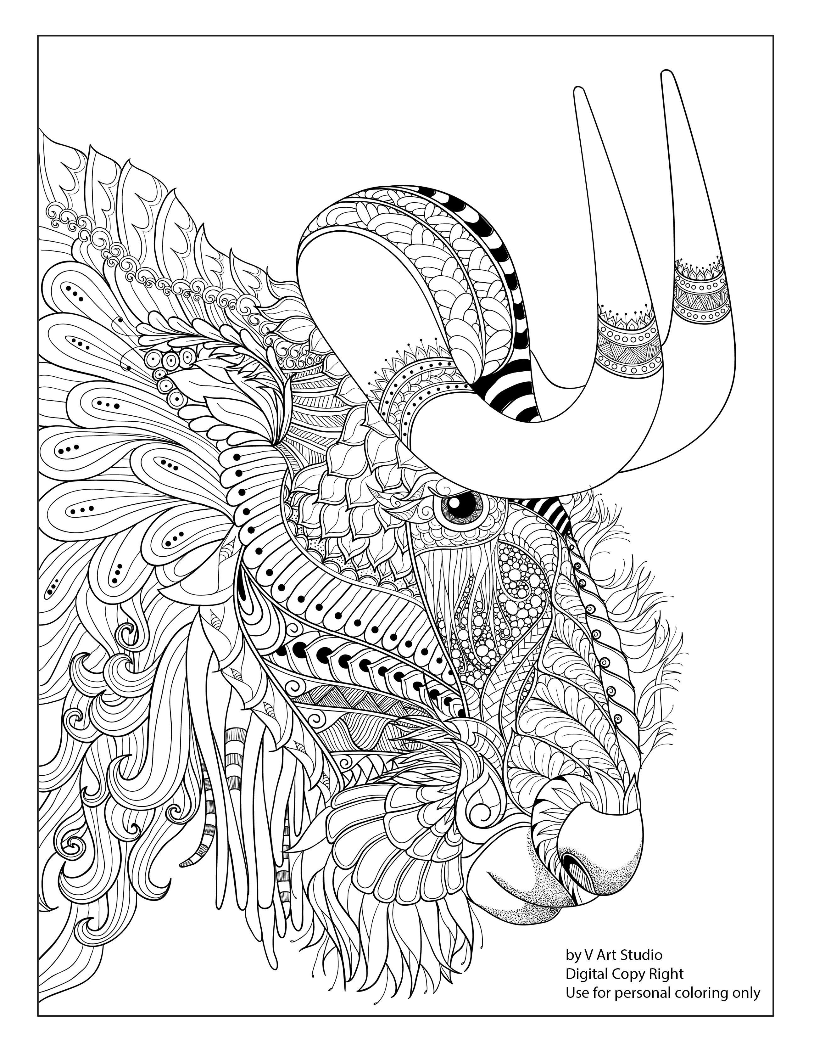 Free Sample Coloring Page From Big Horn Collection Coloring Book Available On Amazon Animal Coloring Books Book Flowers Coloring Books