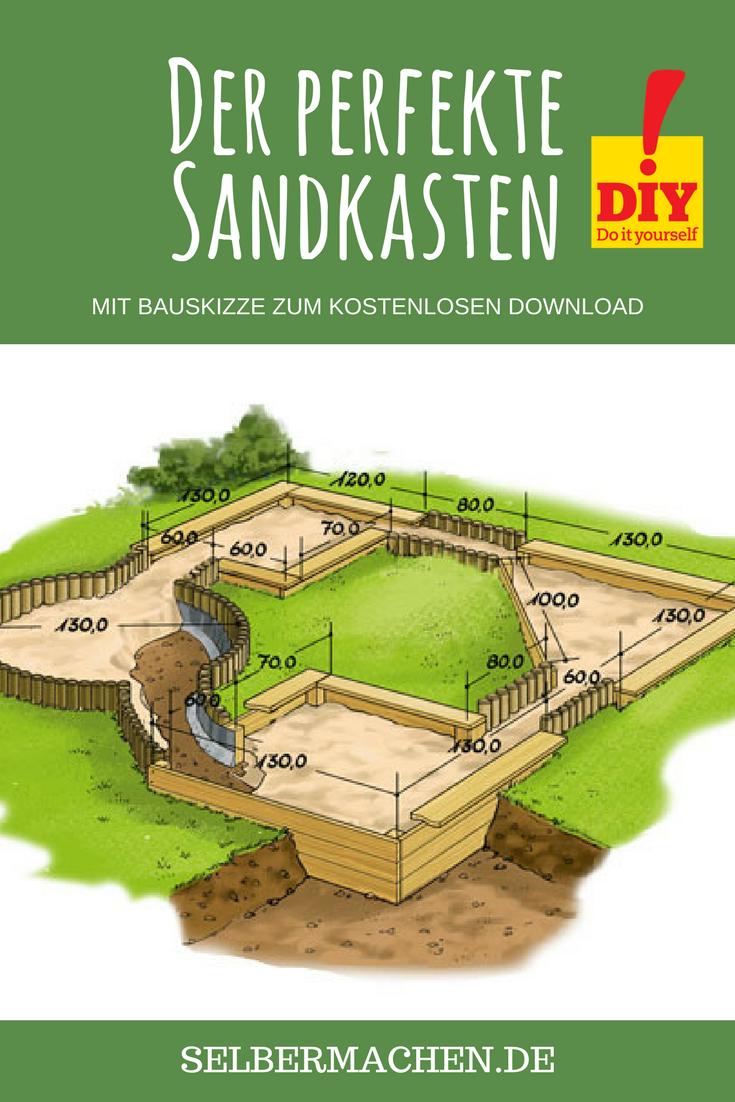 Sandkasten Selber Bauen Mit Unserer Kostenlosen Schritt Fur Schritt Anleitung Sandkasten Garten Garten Spielplatz Sandkasten Selber Bauen
