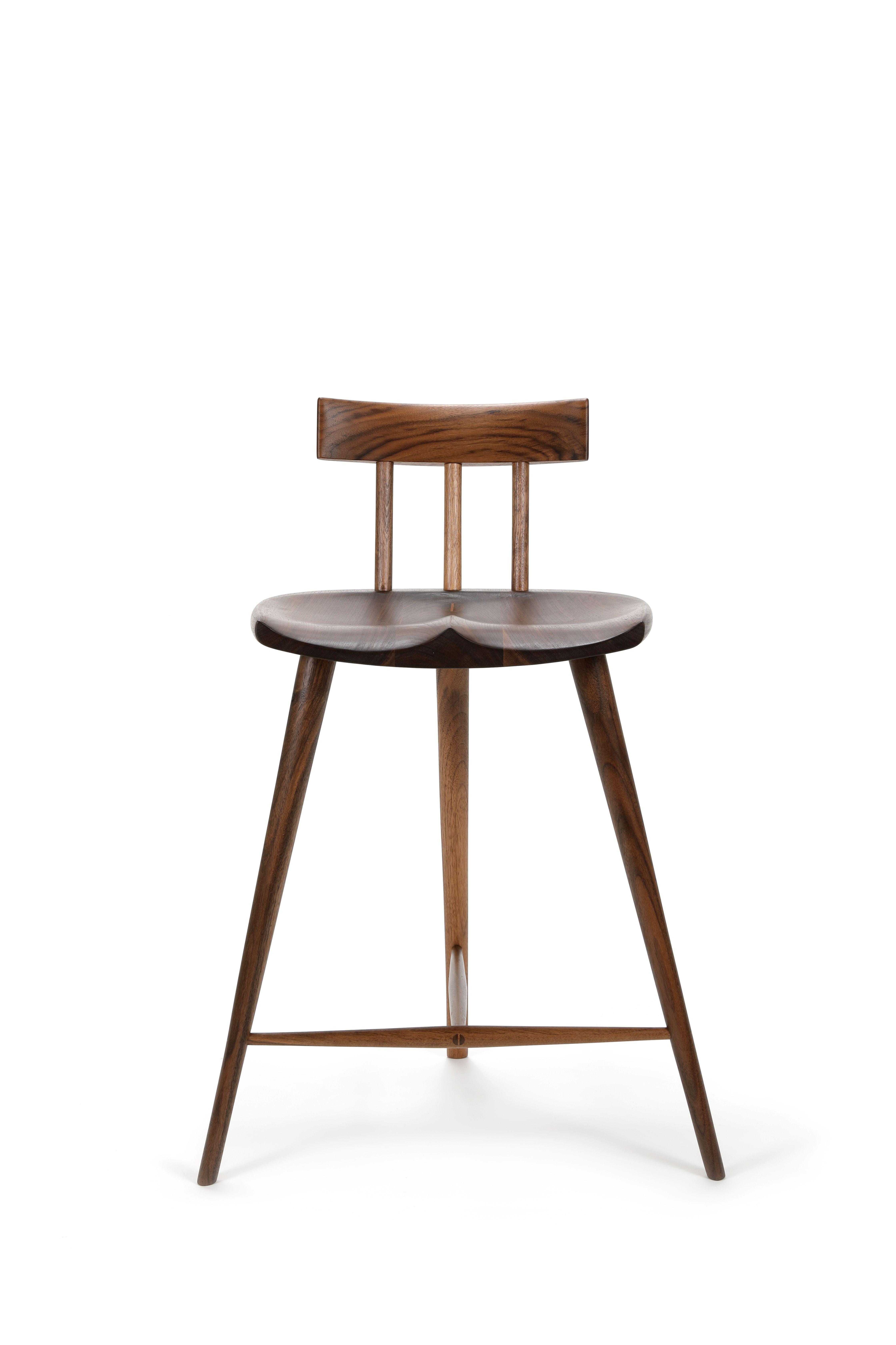 Walnut Three Legged Stool Toroamigo Stool Leather Dining Room Chairs Leather Chair