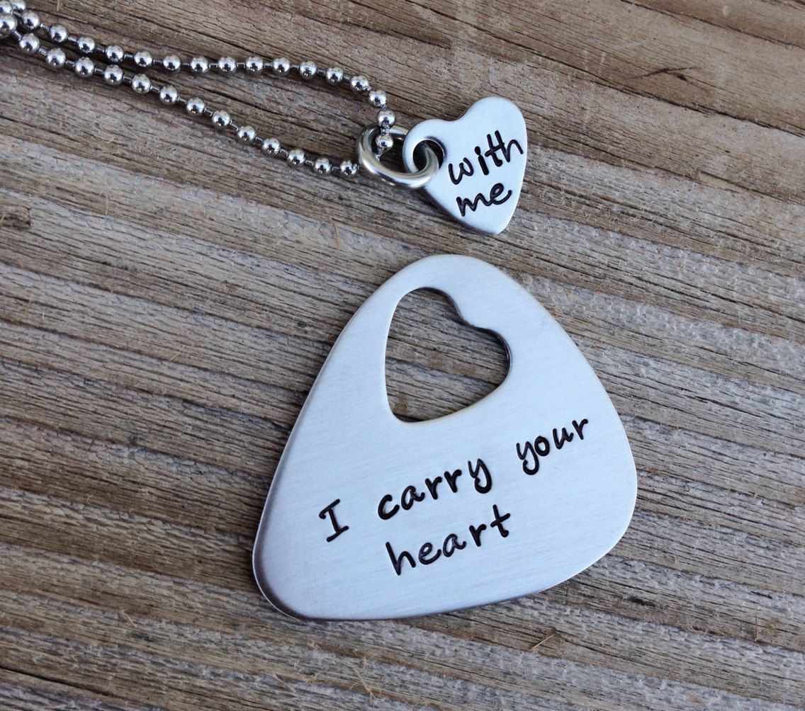 Hand stamped guitar pick necklace with cut out heart necklace I pick you his and her set stainless steel 11 Year Anniversary Gift