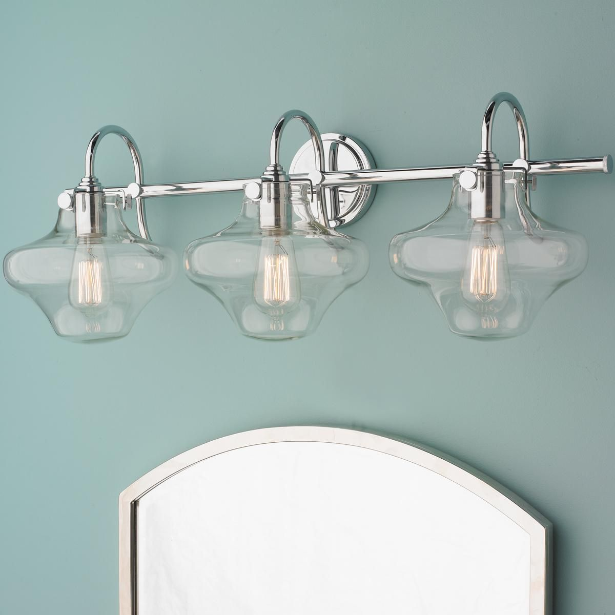 Bathroom Vanity Lights Clear Glass retro glass globe bath light - 2 light | bath light, canopy and globe