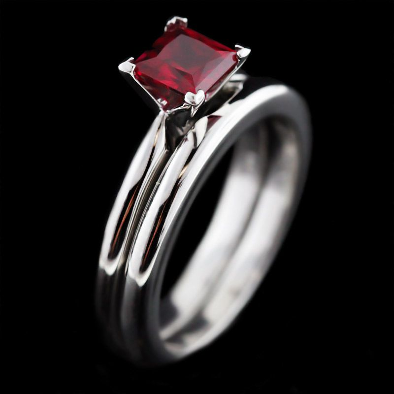 tiffany solitaire wedding set princess cut ruby center stone - Ruby Wedding Ring Sets
