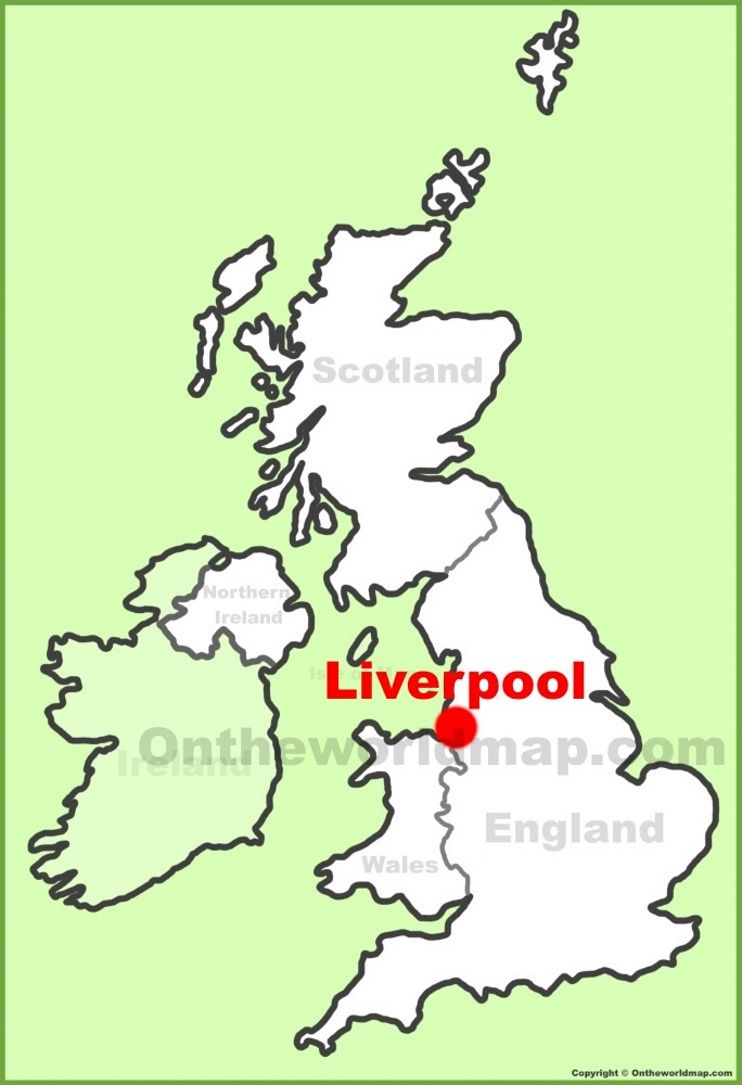 Liverpool location on the UK Map Maps Pinterest City