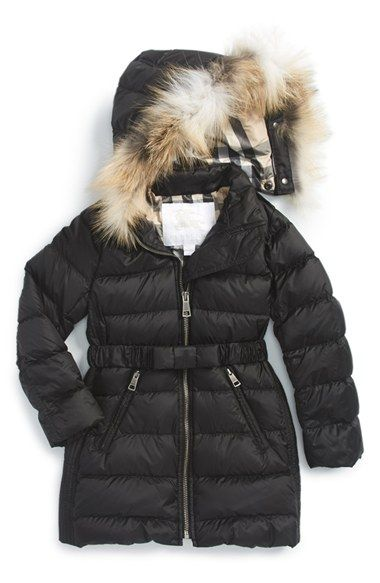 Burberry 'Catherine' Genuine Golden Fox Fur Trim Goose Down Puffer ...