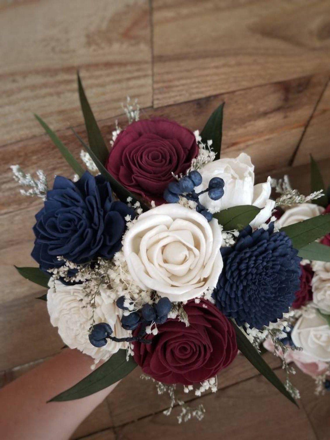 Cascade Burgundy Wine Navy Faux Wedding Bouquet Sola Wood | Etsy #weddingdecoration #WoodPlansWeddingIdeas
