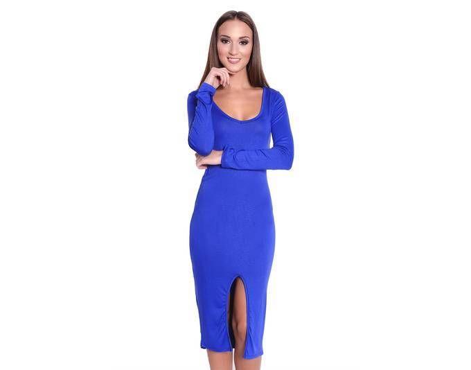 Damen Langarm Kleid Dress mit Schlitz vorne in 5 Farben Clubwear ...