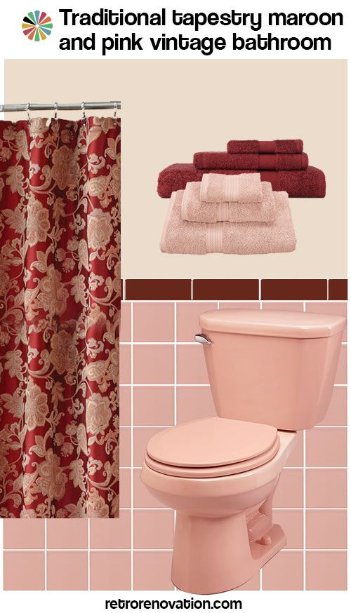 11 Ideas To Decorate A Burgundy And Pink Bathroom Maroon Bathroom Pink Bathroom Vintage Burgundy Bathroom