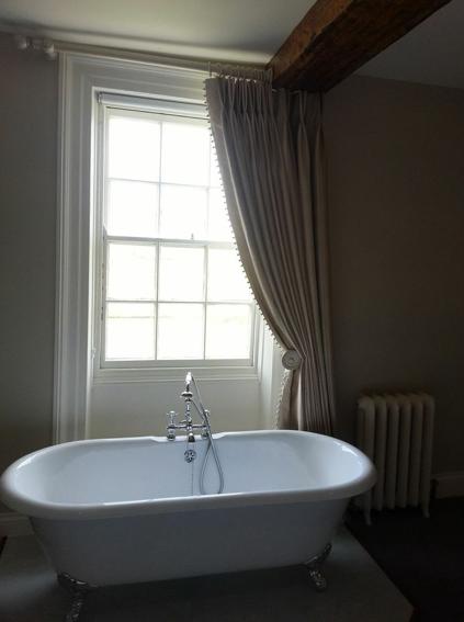 Beautiful Bathroom Curtain Swept To One