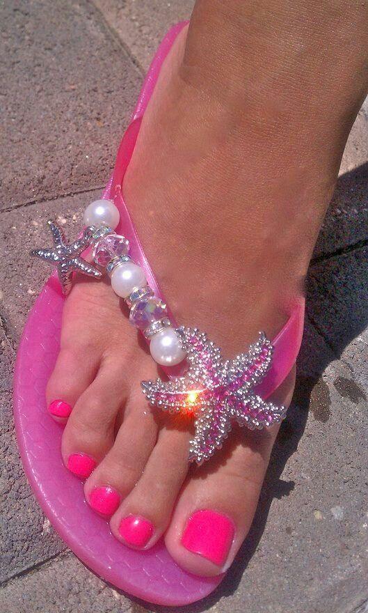 Pretty sparkly flip flops | Starfish
