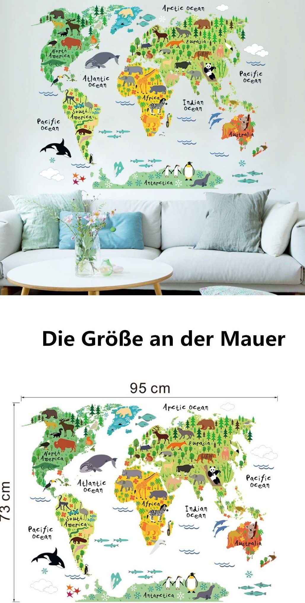 CHARLLEAN Wandsticker Weltkarte Kinder | Wallpark Kinder Kids ...