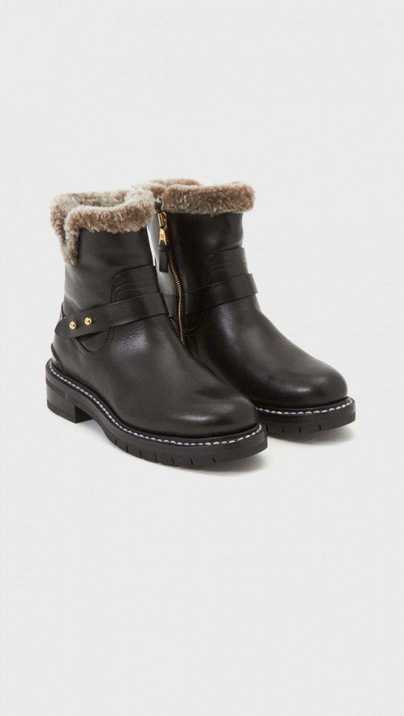 Rag & Bone Shearling Lined Ashford Moto Boots in Black | The Dreslyn