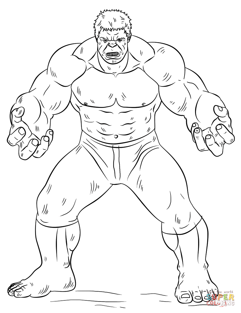 Hulk  Super Coloring  Hulk coloring pages, Avengers coloring