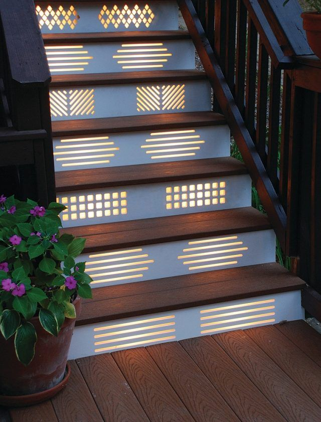treppenbeleuchtung ideen dekorative paneele muster   Treppen ...
