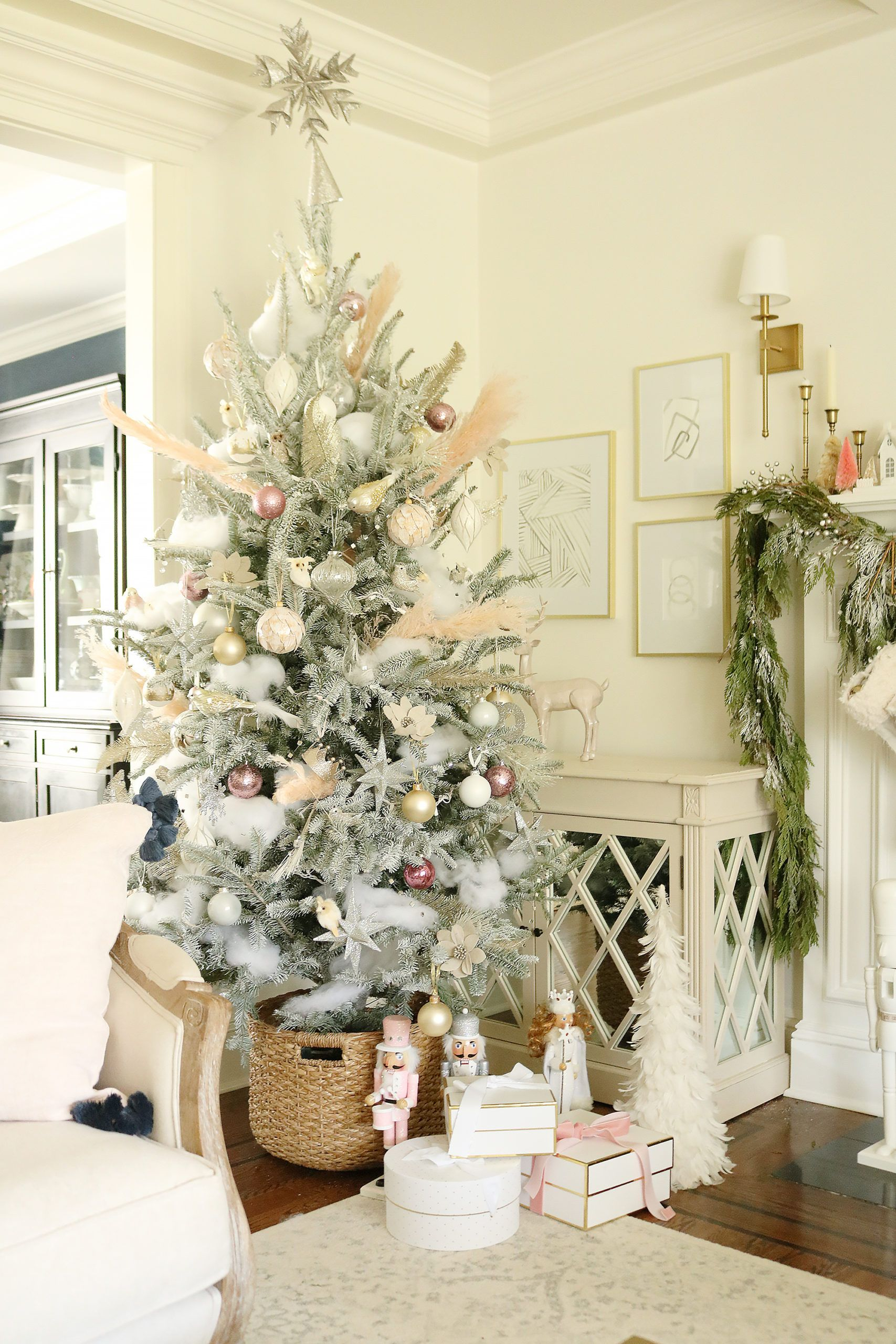 Blush Pink, Rose Gold Pink Christmas Tree and Decor for A