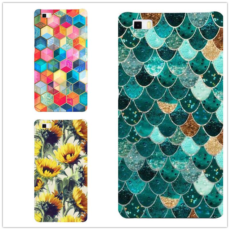 New Fashion Colorful Grid soft silicone TPU  Phone Case For  HuaWei P8 P8Lite P9 P9Lite  Fish Scale Back Cover