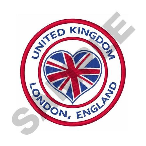 Great Notions Embroidery Design: UNITED KINGDOM TRAVEL 4.76 inches H x 4.76 inches W