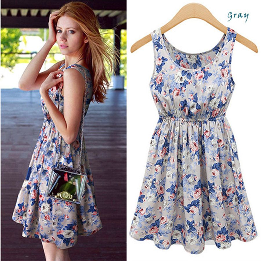 Casual Floral Cute Sleeveless Chiffon High Waist Summer Dress ...