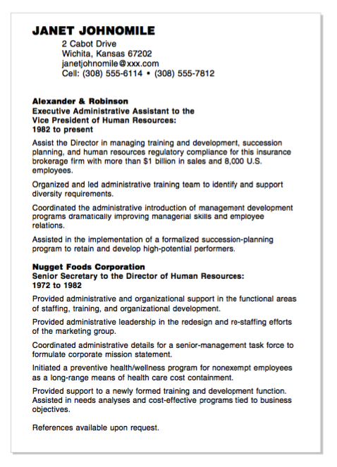 Example Of Nugget Foods Resume Examples Resume Cv