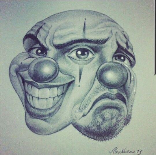 Skull Drama Face Tattoo: Prison Art, Chicano Art, Drawings