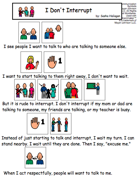 "Visual story for ""I Don't Interrupt"" #autism #speech"