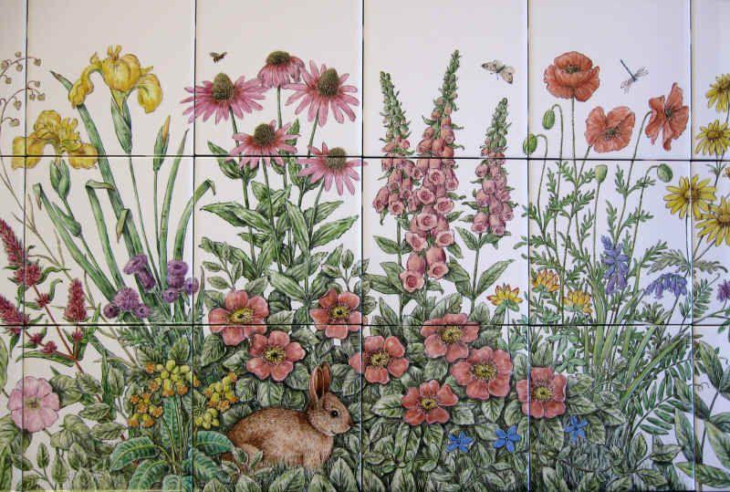 """Garden Decorative Tiles Roberta's Flower Garden"""" Hutch Cabinet Wall Tile Mural  Cool"""