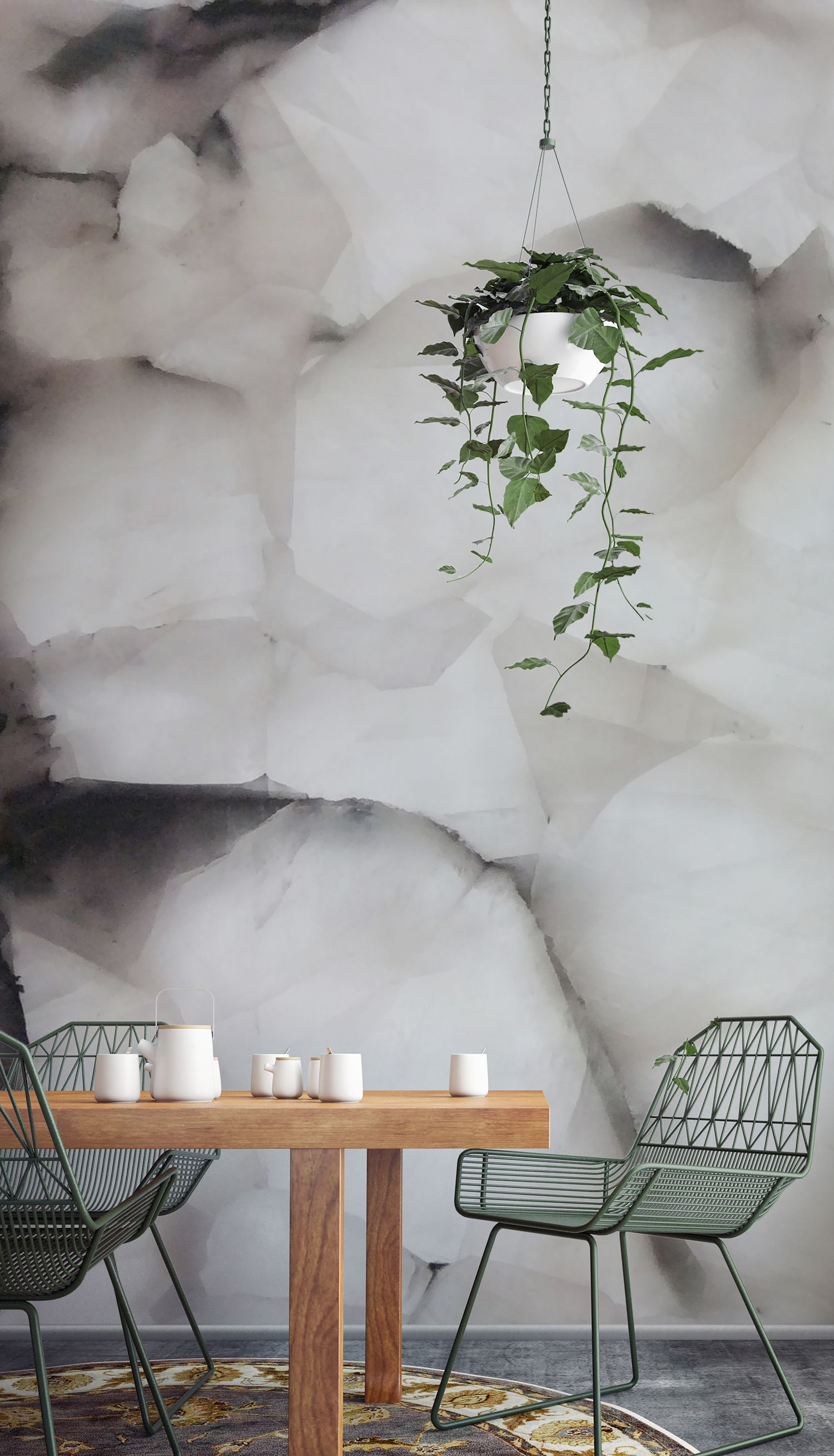 Serendibite Crystal Wall Mural | Ivory white, Wallpaper and Crystals
