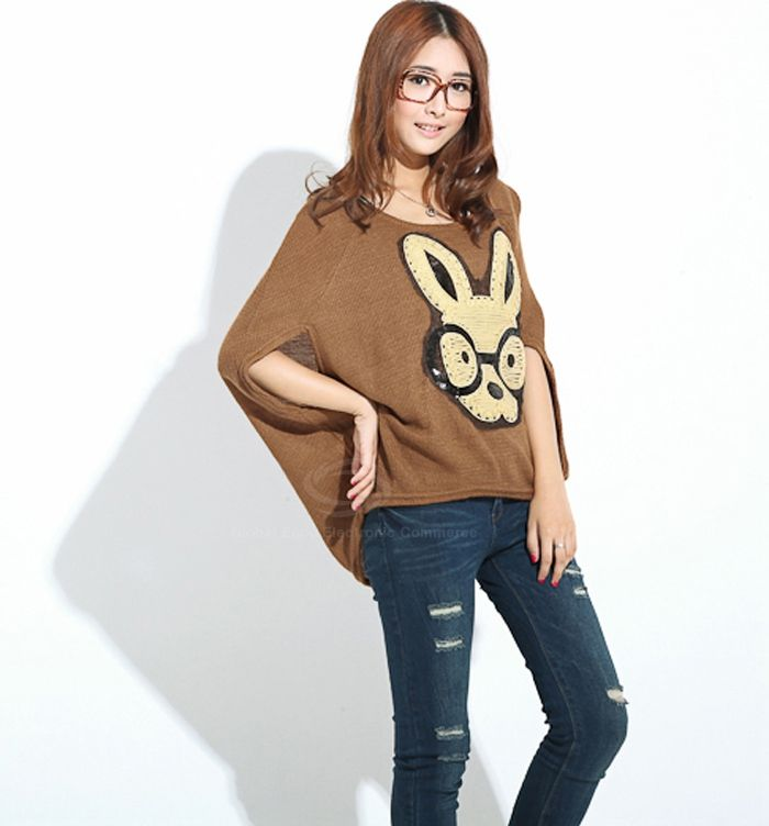 Loose-Fitting Bunny Pattern Batwing Sweater For Women (BROWN,ONE SIZE) China Wholesale - Sammydress.com $8.93