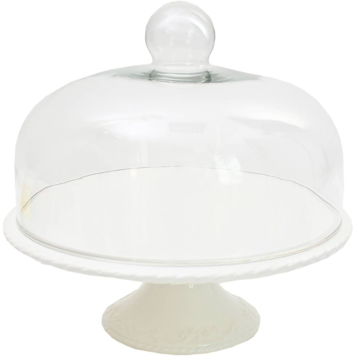 Ceramic cake stand and glass dome lid 10 inches glass