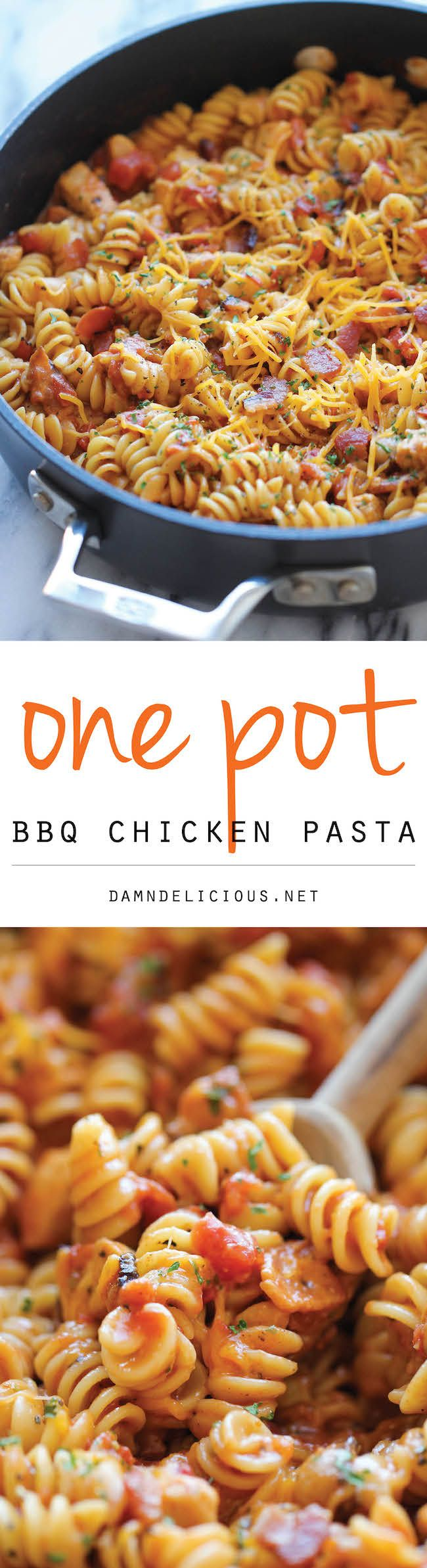 One Pot BBQ Chicken Pasta - A super easy one pot cheesy pasta dish loaded with tangy BBQ sauce and crisp bacon. Even the pasta gets cooked right in the pot!