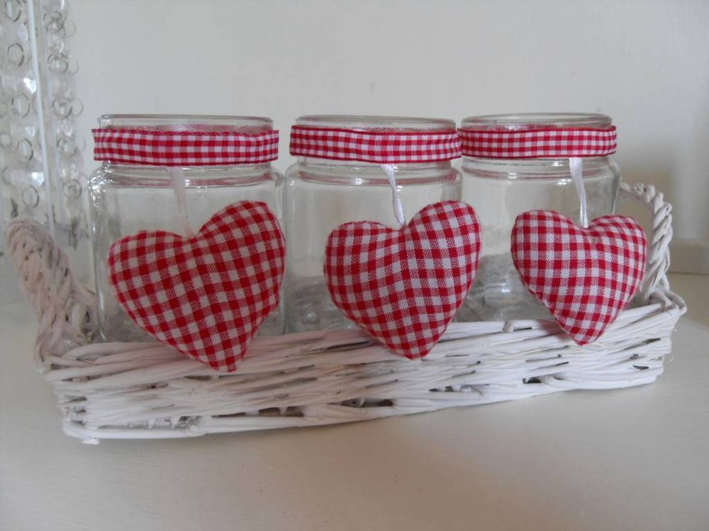 3 TEA LIGHT CANDLE POTS WHITE WICKER BASKET RED WHITE GINGHAM CHIC N SHABBY
