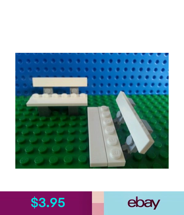 LEGO Minifig BENCHES x 2 White Trees Flowers Seats Accessories Friends Creator