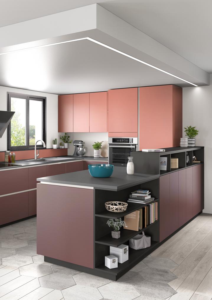 Ambiance Moderne Idee Cuisine Ouverte Cuisine Rouge Et