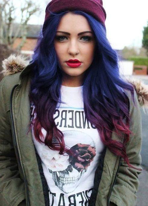 Blue Purple To Red Purple Ombre Hair Pinterest Ombre Long Red And Blue Ombre…