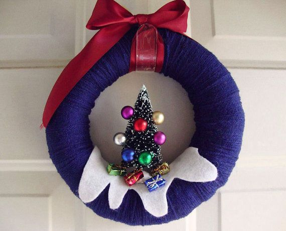 Yarn Wreath O Christmas Tree Design and Gifts by AnnaHailey, $39.00