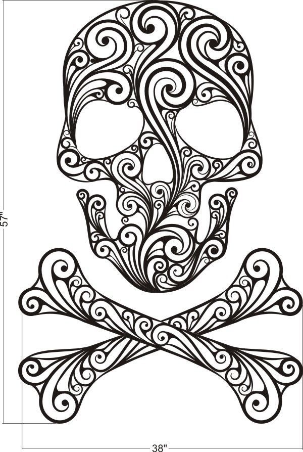 Sugar Skull, Skull Wall Decal, Skull Crossbones Wall Decal ...