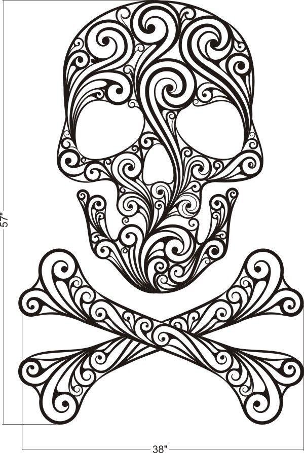 Sugar Skull, Skull Wall Decal, Skull Crossbones Wall Decal