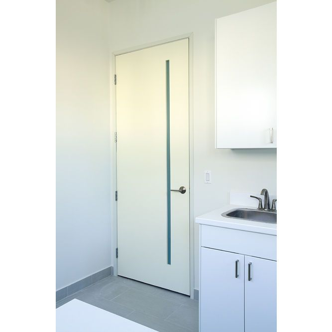 Roman Interior White Primed Flush Door With Obscure White Lami Vertical Slim Lite Glass 1 3 4 Flush Doors Solid Core Interior Doors Interior