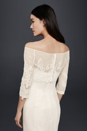 Lace Topper With Buttons David S Bridal Wedding Gown Accessories Dress Topper Wedding Gown Patterns