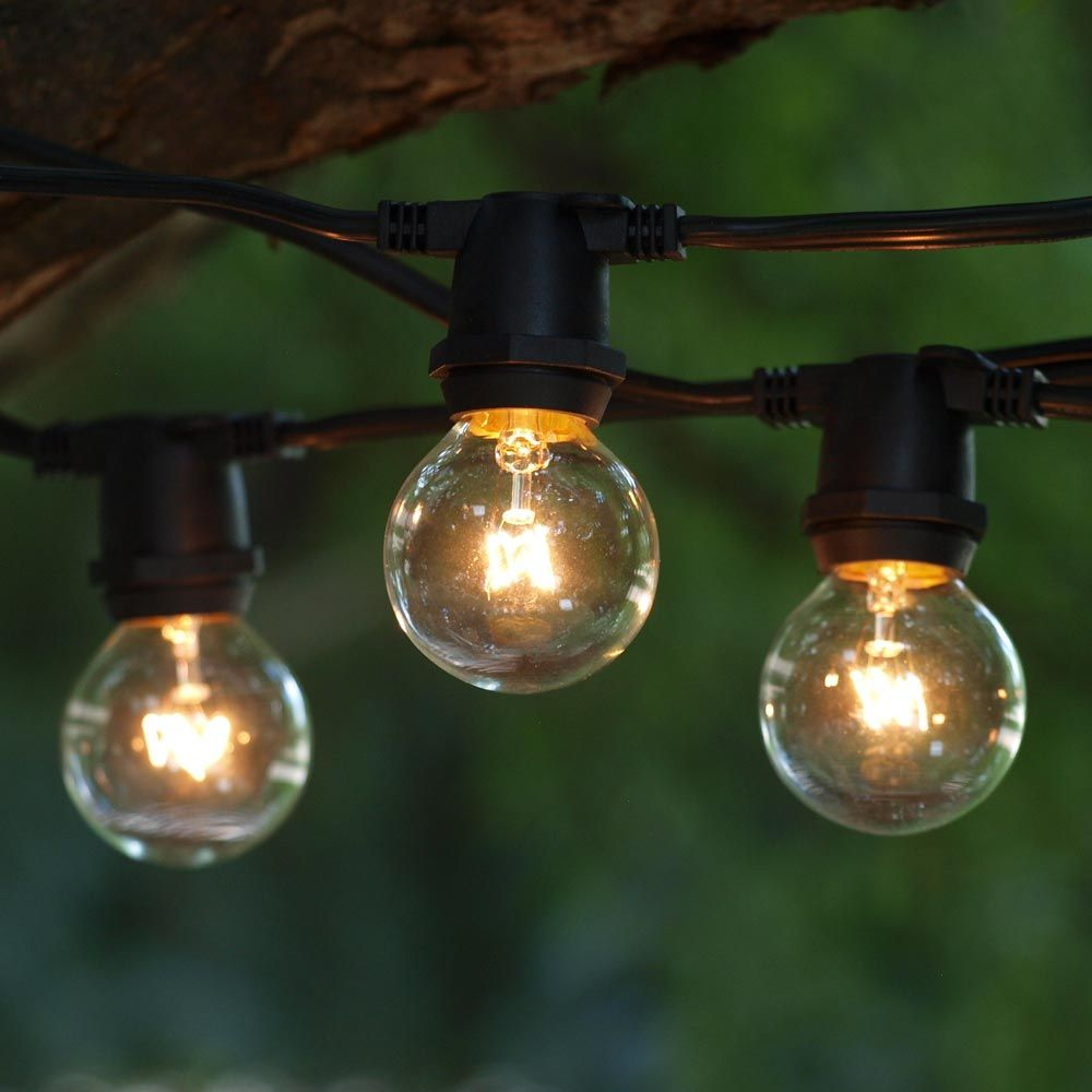 String Globe Lights Delectable 100 Ft Black Commercial C9 String Light With G40 Clear Bulbs  Art Decorating Inspiration