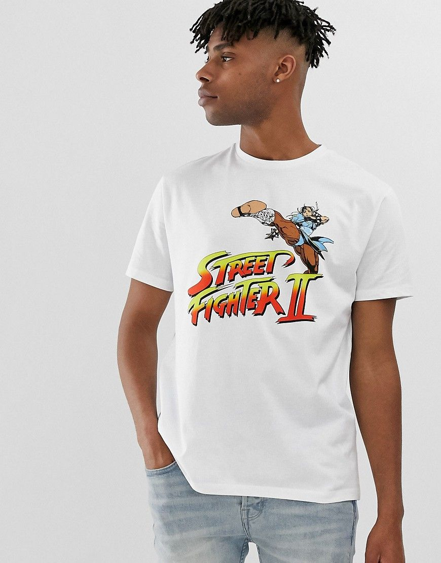 2ac960cbe3e0 ASOS DESIGN STREET FIGHTER RELAXED FIT T-SHIRT WITH CHEST PRINT - WHITE. #