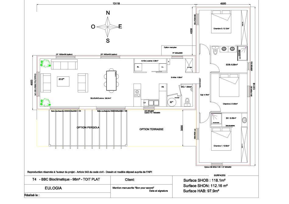 prix petite maison bois moderne 3 chambres plan maison Pinterest