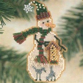 Teddy Snow Charmer Bead Christmas Ornament Kit Mill Hill 2003